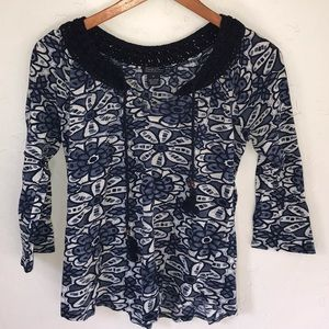 Lucky Brand blue flower shirt